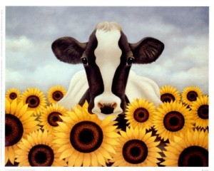 painting: Surrounded by Sunflowers - by Lowell Herrero